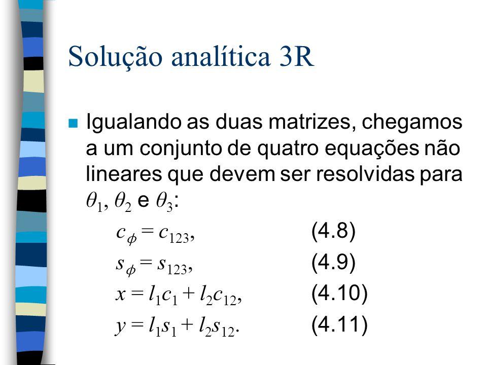 Solução analítica 3R Igualando as duas matrizes, chegamos a um conjunto de quatro equações não lineares que devem ser resolvidas para θ1, θ2 e θ3: