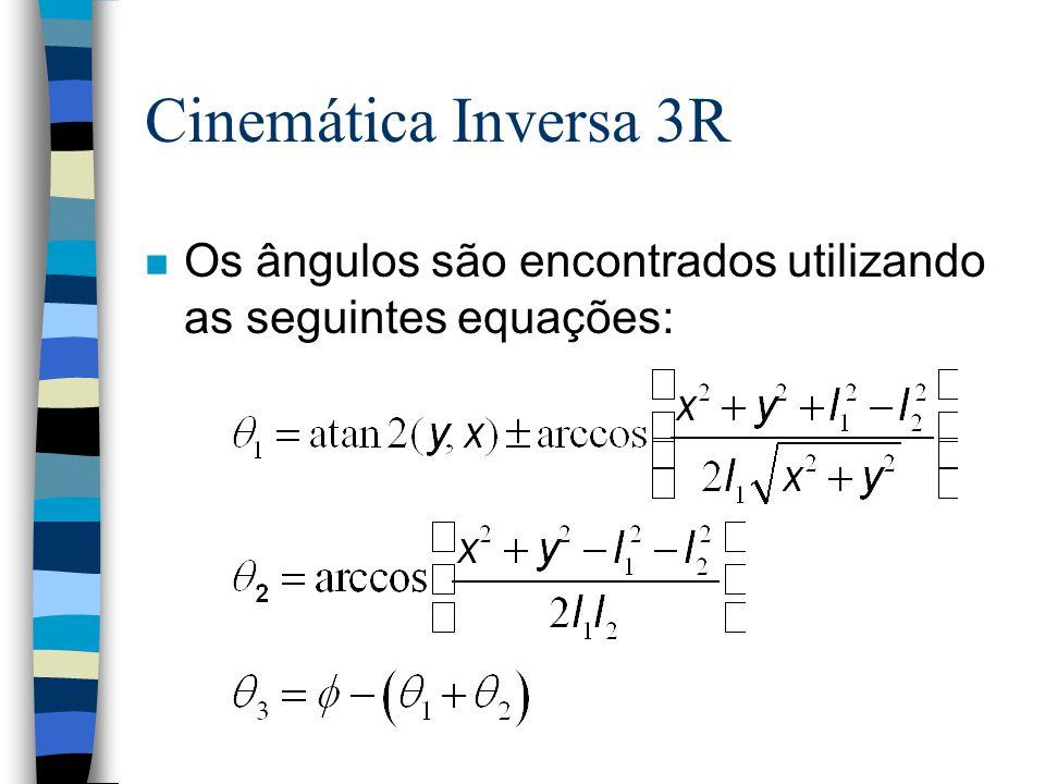 Cinemática Inversa 3R Os ângulos são encontrados utilizando as seguintes equações: