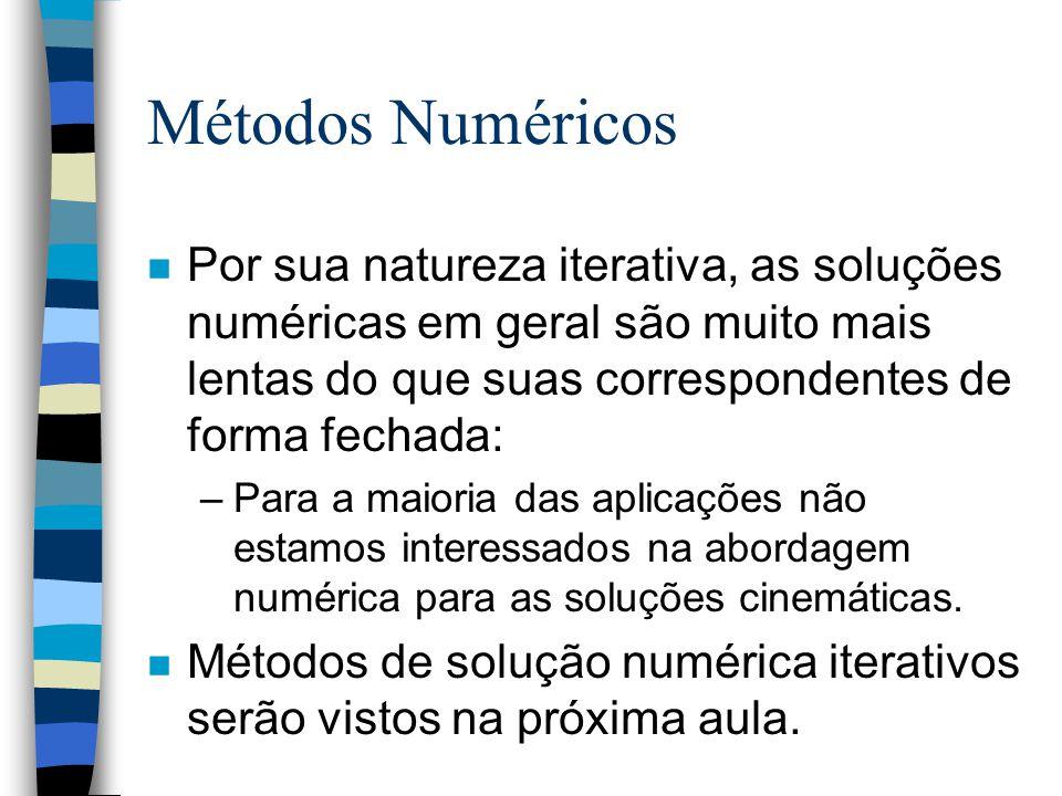 Métodos Numéricos Por sua natureza iterativa, as soluções numéricas em geral são muito mais lentas do que suas correspondentes de forma fechada: