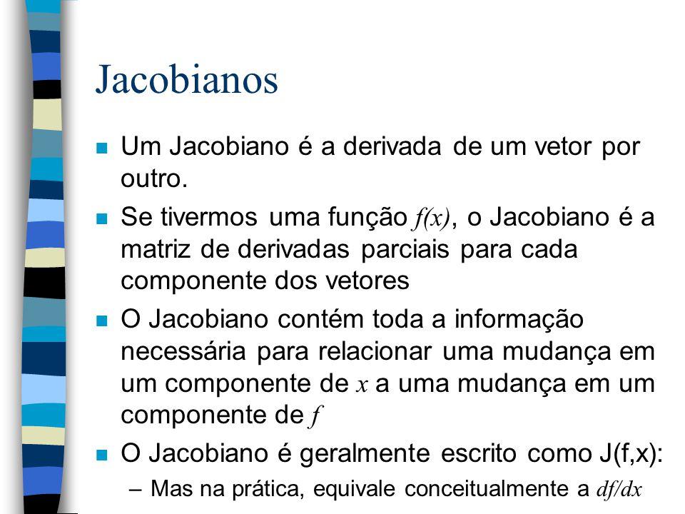 Jacobianos Um Jacobiano é a derivada de um vetor por outro.
