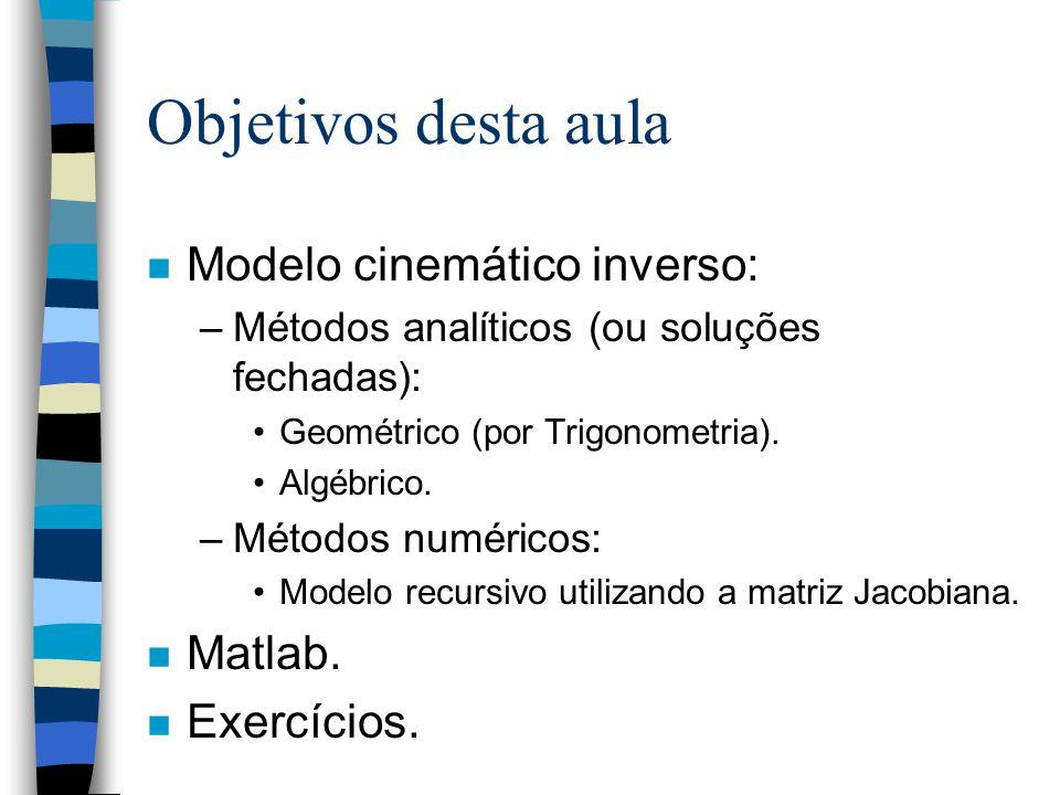 Objetivos desta aula Modelo cinemático inverso: Matlab. Exercícios.