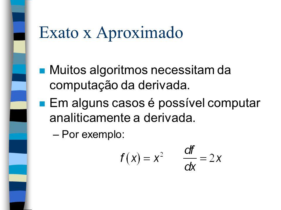 Exato x Aproximado Muitos algoritmos necessitam da computação da derivada. Em alguns casos é possível computar analiticamente a derivada.