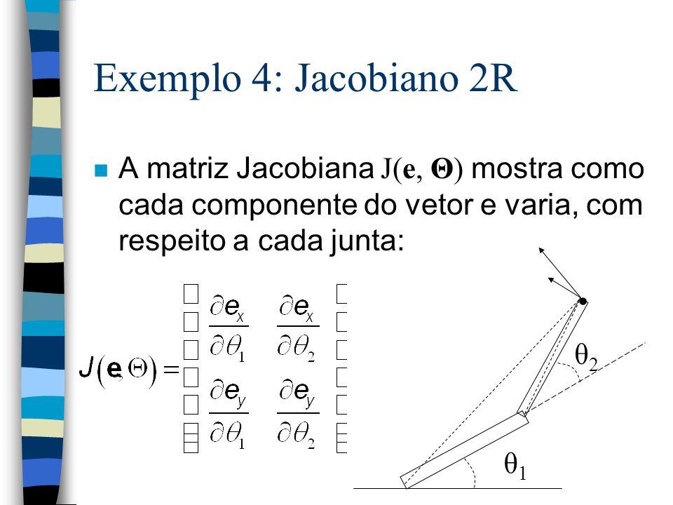 Exemplo 4: Jacobiano 2R A matriz Jacobiana J(e, Θ) mostra como cada componente do vetor e varia, com respeito a cada junta: