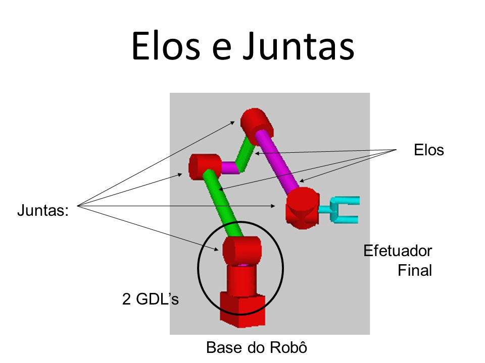 Elos e Juntas Juntas: Elos 2 GDL's Efetuador Final Base do Robô