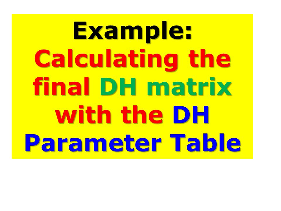 Example: Calculating the final DH matrix with the DH Parameter Table