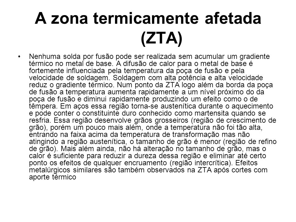 A zona termicamente afetada (ZTA)