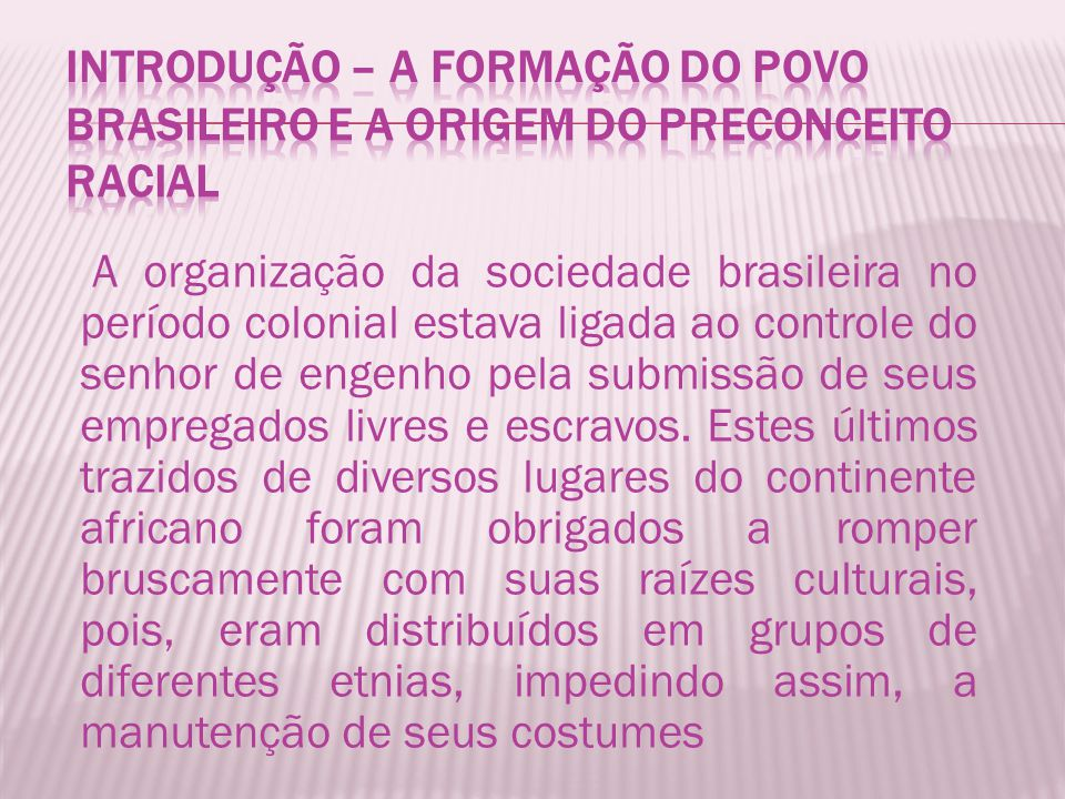 Introdução – A formação do povo brasileiro e a origem do preconceito racial