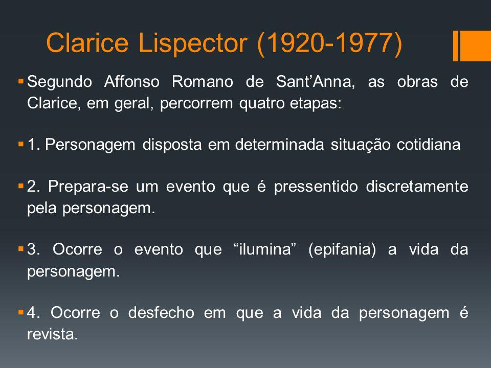 Clarice Lispector (1920-1977) Segundo Affonso Romano de Sant'Anna, as obras de Clarice, em geral, percorrem quatro etapas: