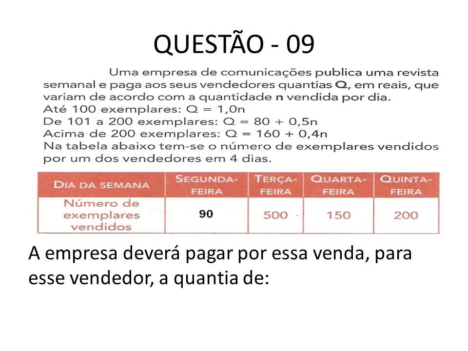 QUESTÃO - 09 A empresa deverá pagar por essa venda, para esse vendedor, a quantia de: