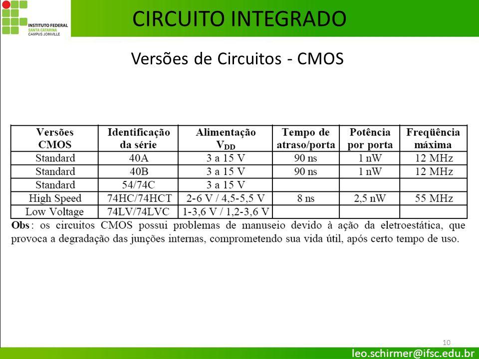 Versões de Circuitos - CMOS