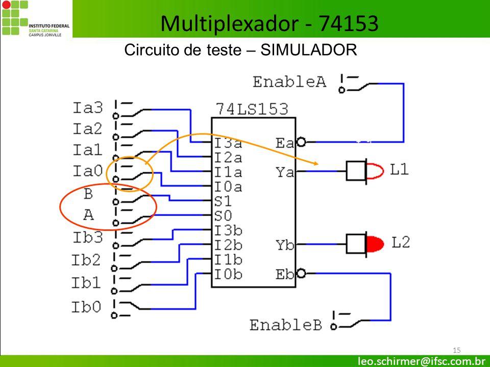 Multiplexador - 74153 Circuito de teste – SIMULADOR