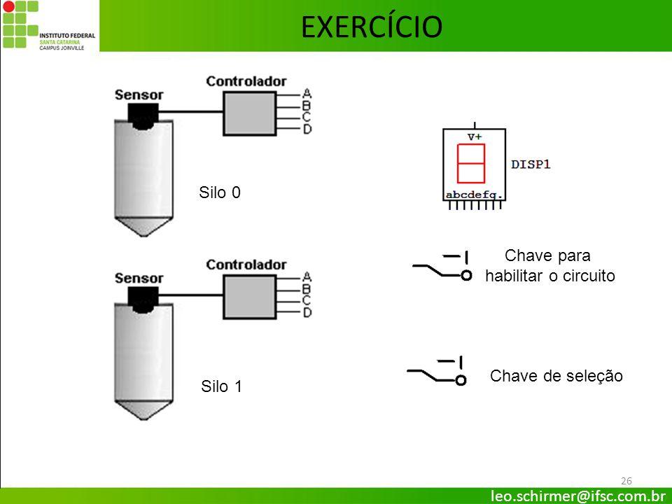 EXERCÍCIO Silo 0 Chave para habilitar o circuito Chave de seleção