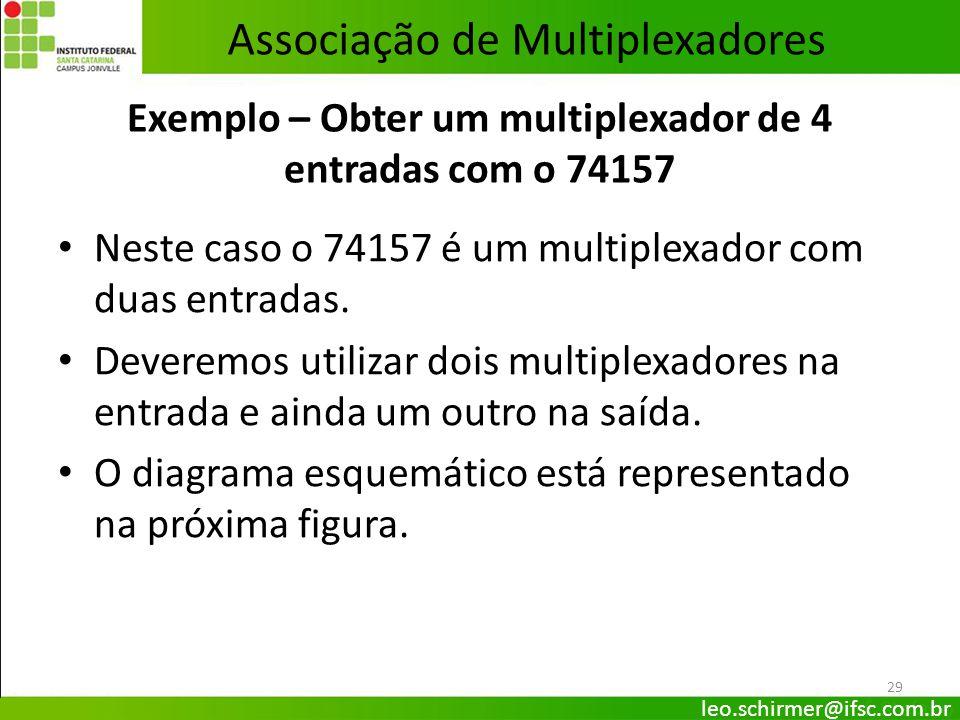 Exemplo – Obter um multiplexador de 4 entradas com o 74157
