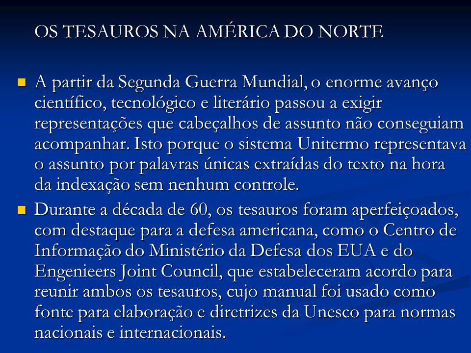 OS TESAUROS NA AMÉRICA DO NORTE