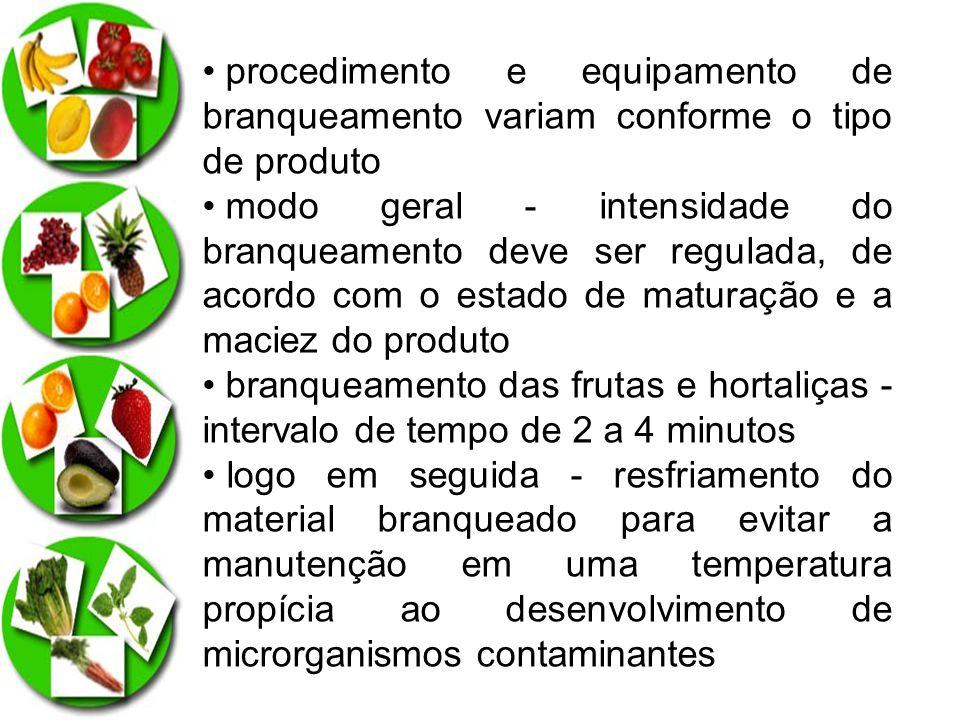 procedimento e equipamento de branqueamento variam conforme o tipo de produto