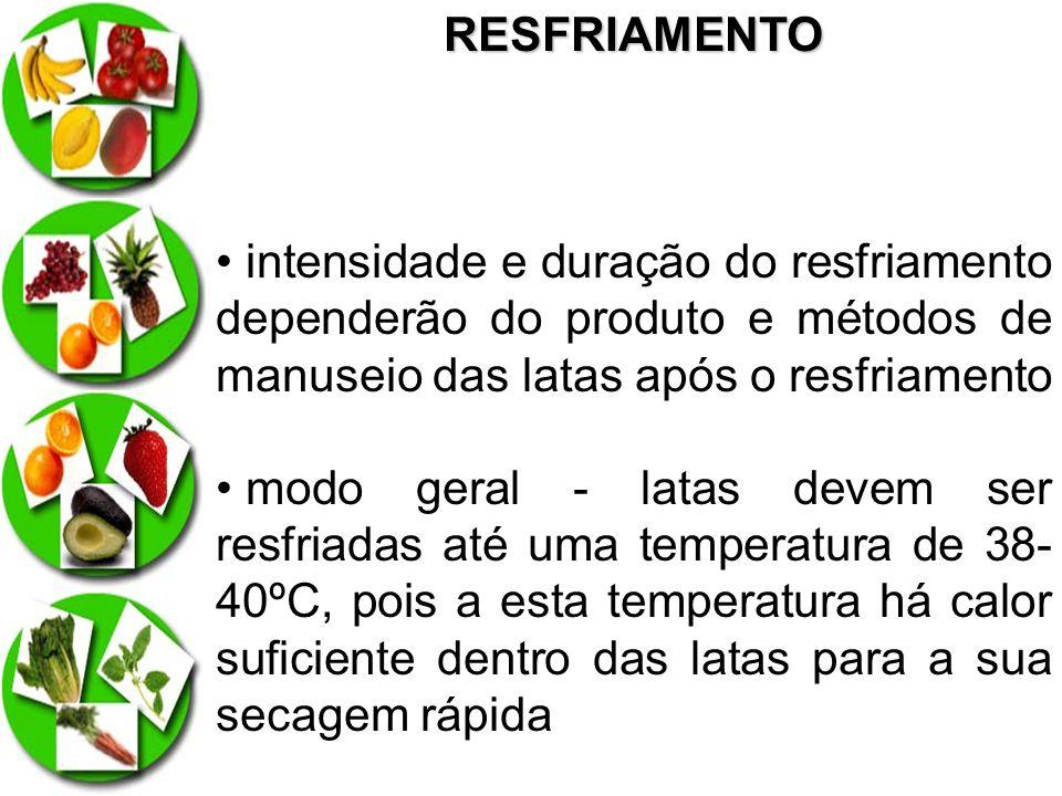 RESFRIAMENTO intensidade e duração do resfriamento dependerão do produto e métodos de manuseio das latas após o resfriamento.