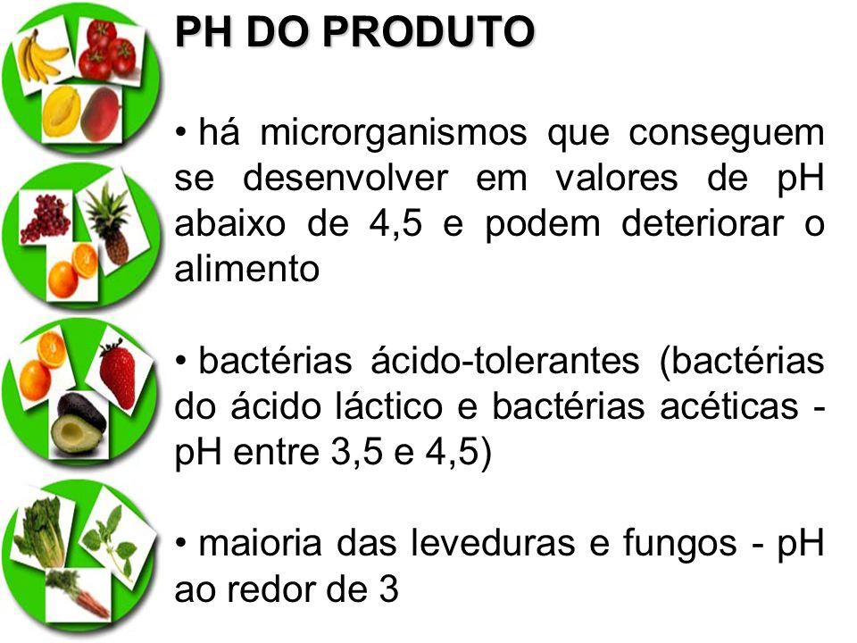 PH DO PRODUTO há microrganismos que conseguem se desenvolver em valores de pH abaixo de 4,5 e podem deteriorar o alimento.