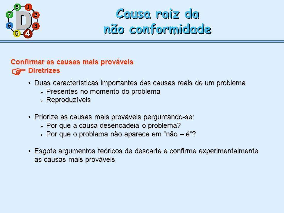 Causa raiz da não conformidade 4 Confirmar as causas mais prováveis