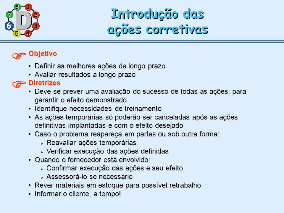   Introdução das ações corretivas 6 Objetivo