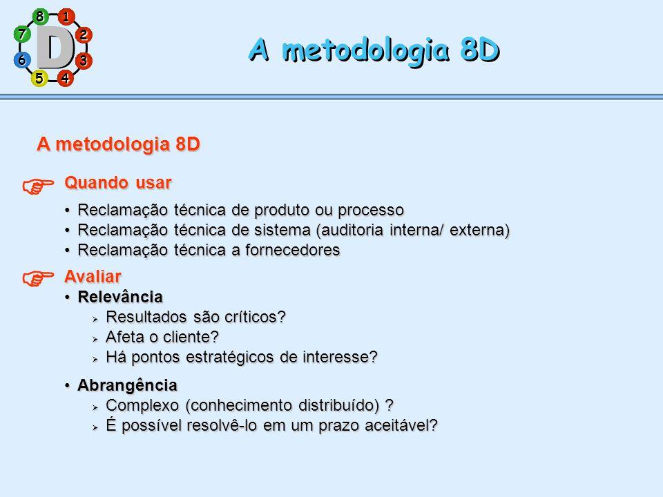   A metodologia 8D A metodologia 8D Quando usar Avaliar