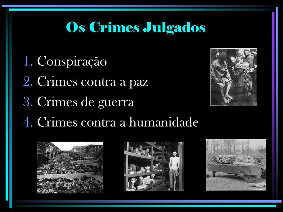 Os Crimes Julgados Conspiração Crimes contra a paz Crimes de guerra Crimes contra a humanidade