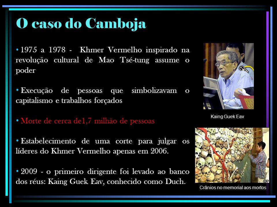 O caso do Camboja 1975 a 1978 - Khmer Vermelho inspirado na revolução cultural de Mao Tsé-tung assume o poder.