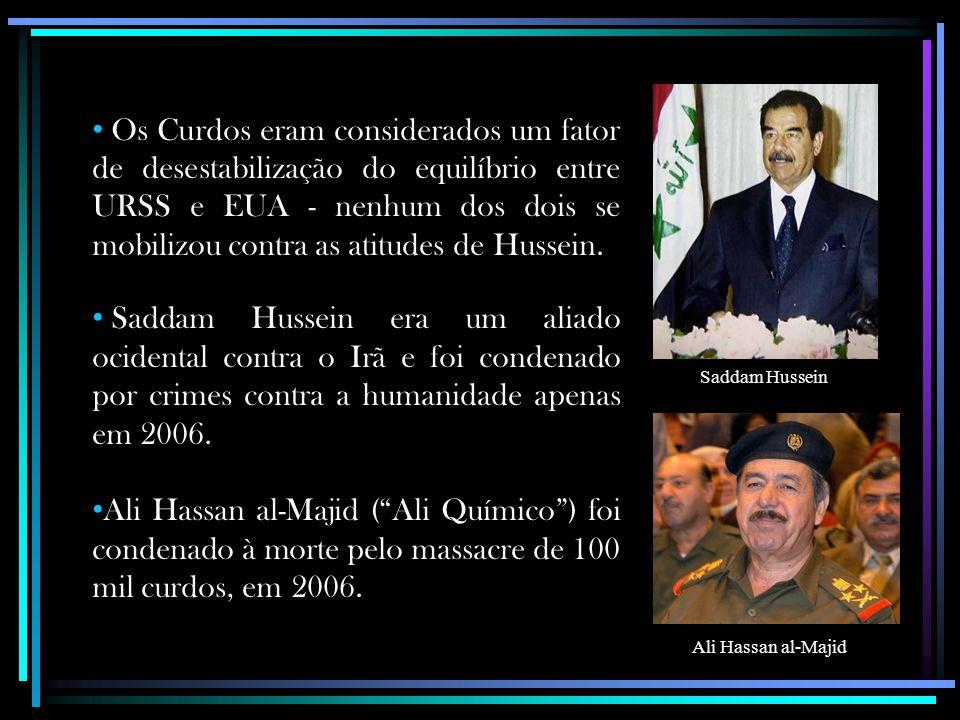 Os Curdos eram considerados um fator de desestabilização do equilíbrio entre URSS e EUA - nenhum dos dois se mobilizou contra as atitudes de Hussein.