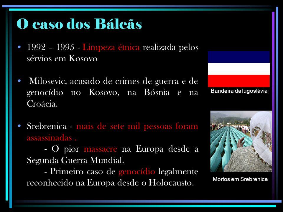 O caso dos Bálcãs 1992 – 1995 - Limpeza étnica realizada pelos sérvios em Kosovo.