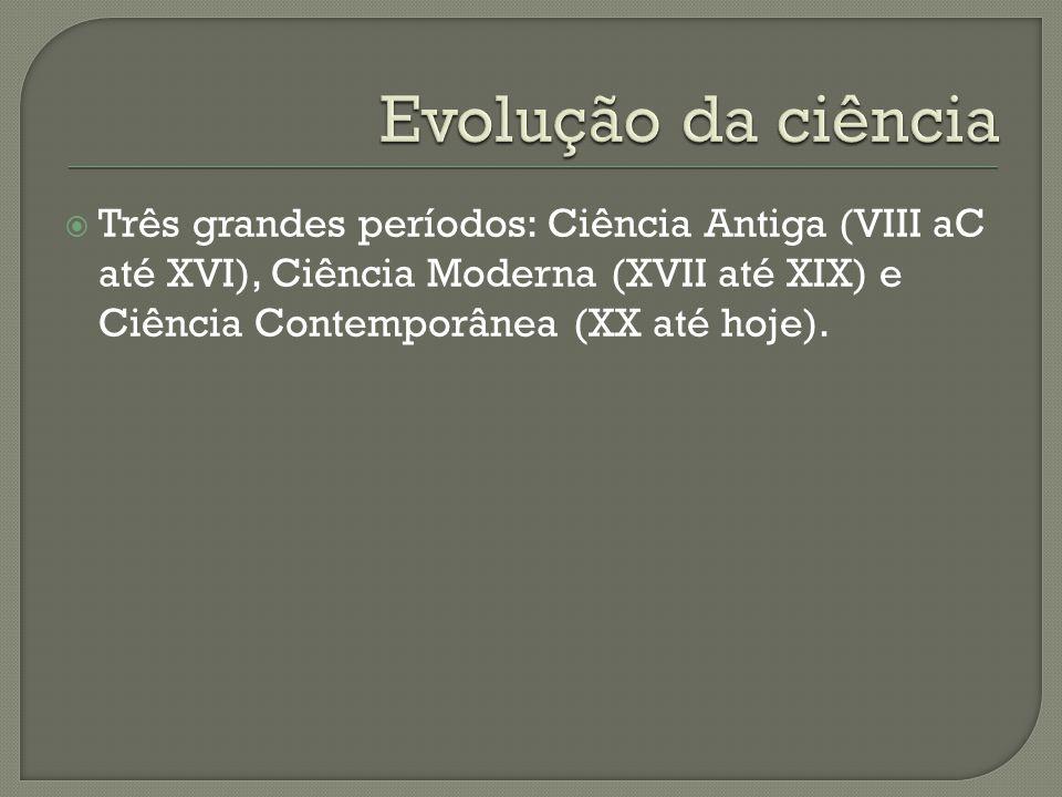 Evolução da ciência Três grandes períodos: Ciência Antiga (VIII aC até XVI), Ciência Moderna (XVII até XIX) e Ciência Contemporânea (XX até hoje).