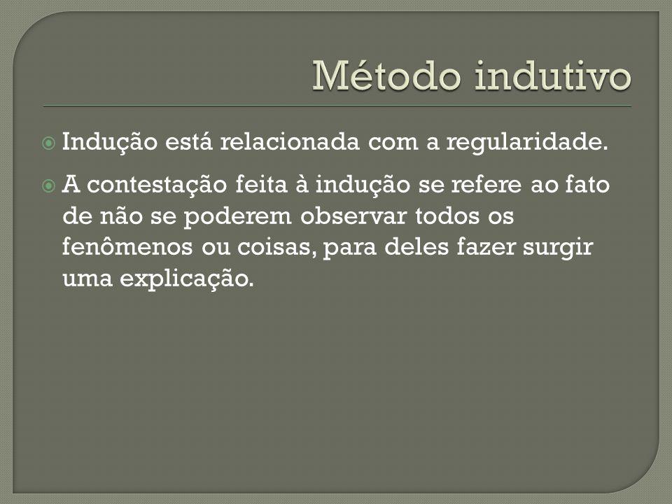 Método indutivo Indução está relacionada com a regularidade.