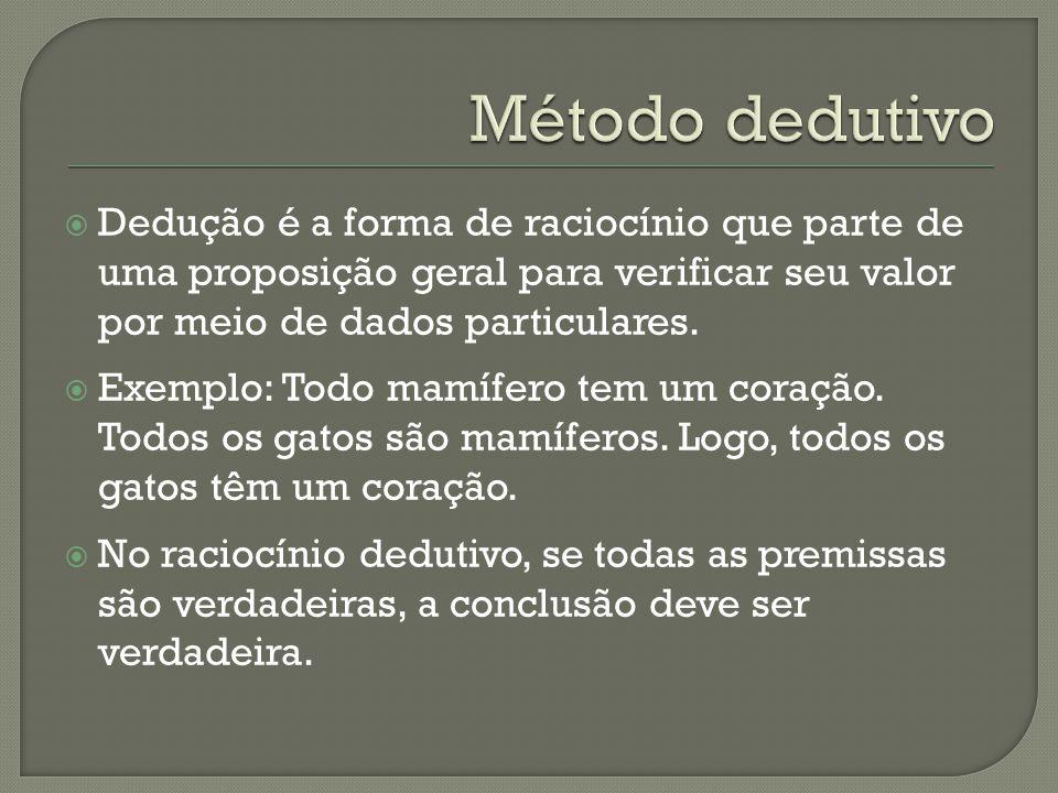 Método dedutivo Dedução é a forma de raciocínio que parte de uma proposição geral para verificar seu valor por meio de dados particulares.