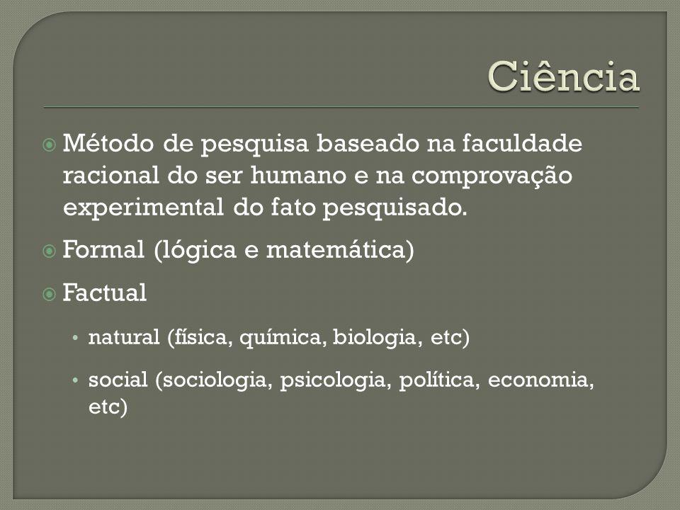 Ciência Método de pesquisa baseado na faculdade racional do ser humano e na comprovação experimental do fato pesquisado.