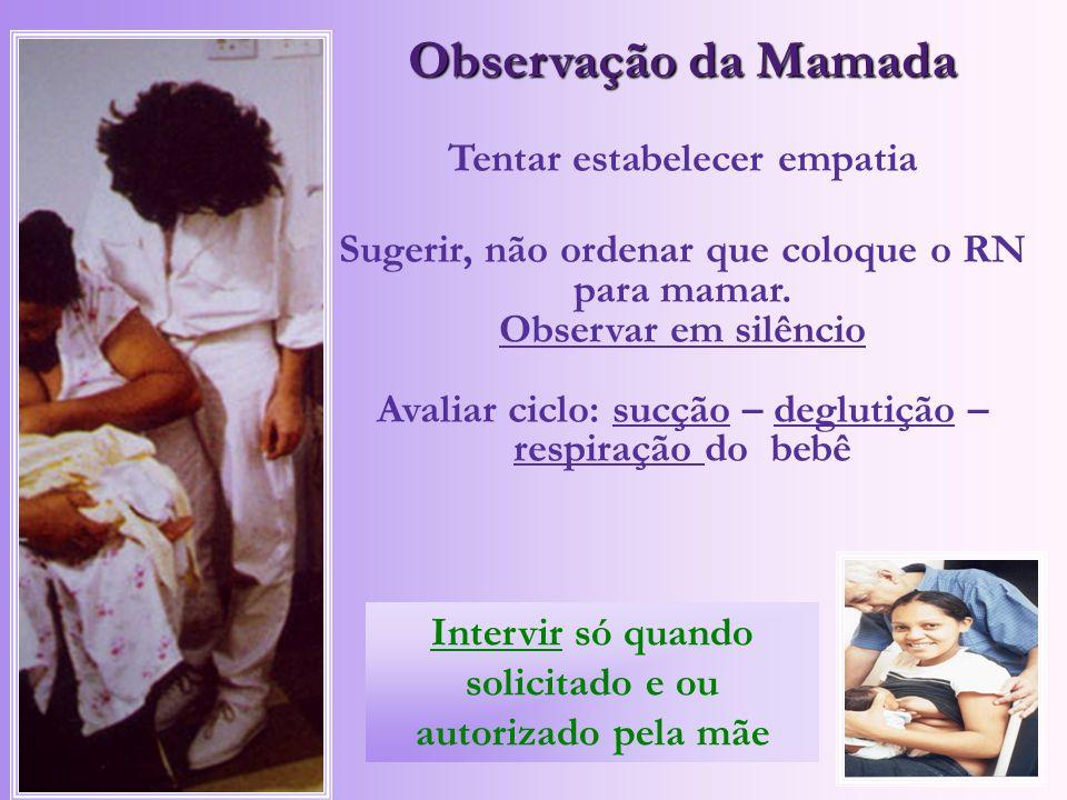 Observação da Mamada Tentar estabelecer empatia