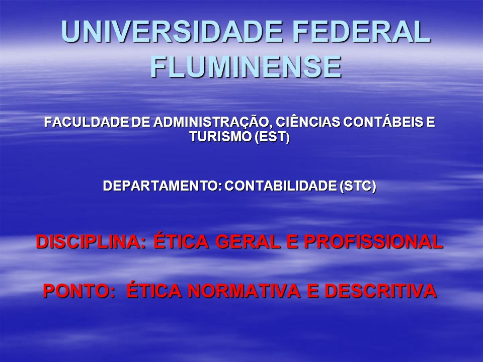 UNIVERSIDADE FEDERAL FLUMINENSE