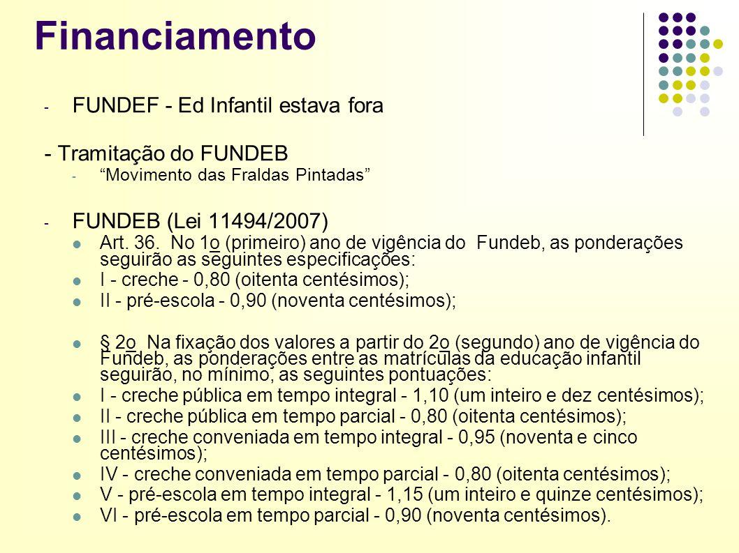 Financiamento FUNDEF - Ed Infantil estava fora - Tramitação do FUNDEB