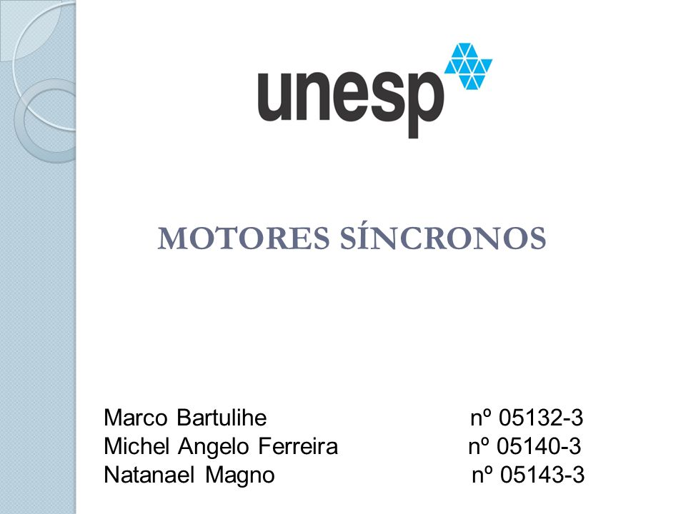 MOTORES SÍNCRONOS Marco Bartulihe nº 05132-3