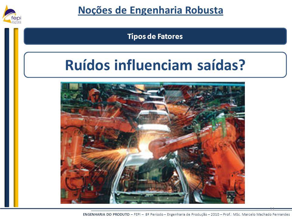 Noções de Engenharia Robusta Ruídos influenciam saídas