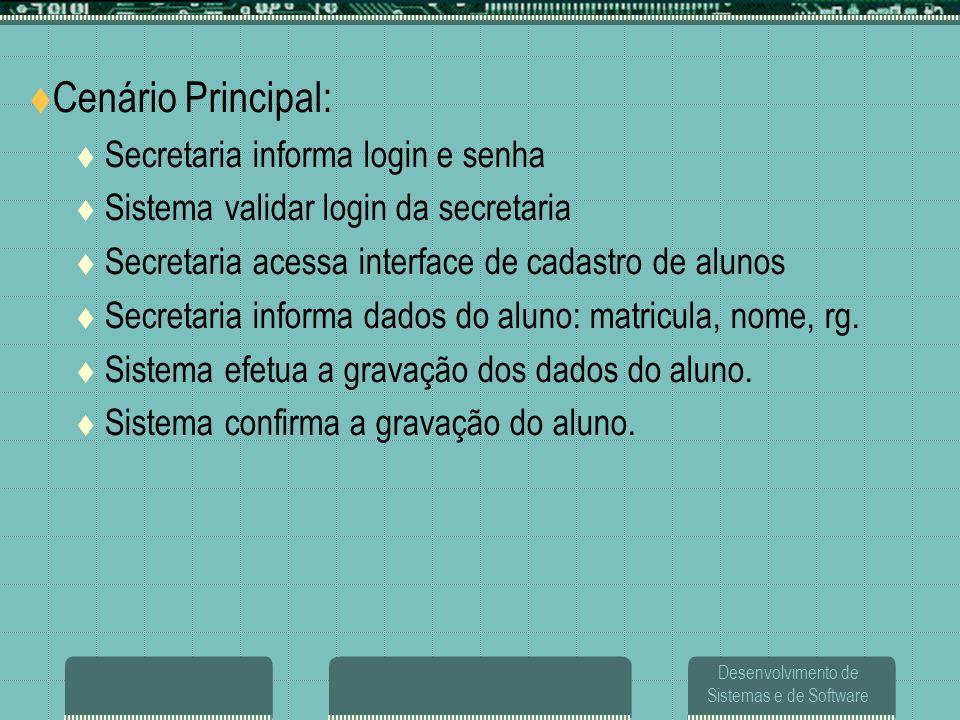 Cenário Principal: Secretaria informa login e senha