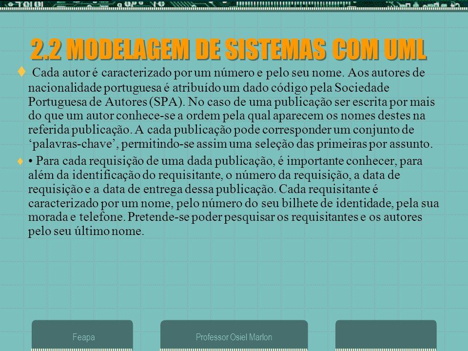 2.2 MODELAGEM DE SISTEMAS COM UML