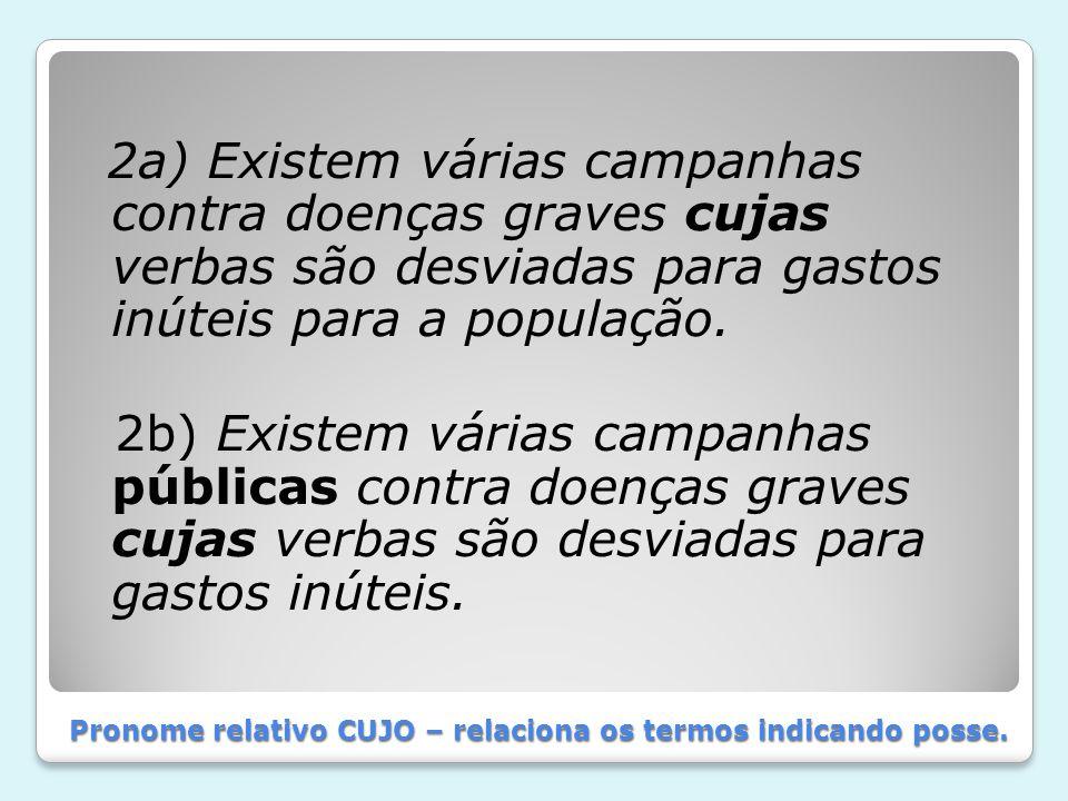 Pronome relativo CUJO – relaciona os termos indicando posse.