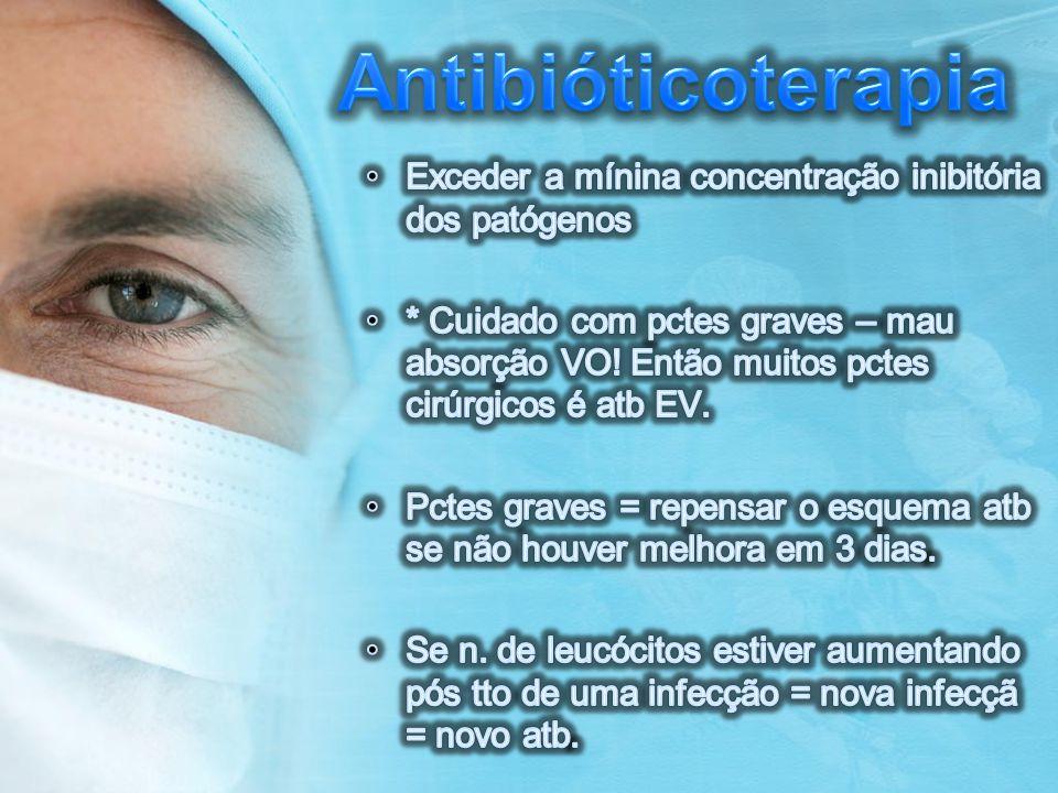 Antibióticoterapia Exceder a mínina concentração inibitória dos patógenos.