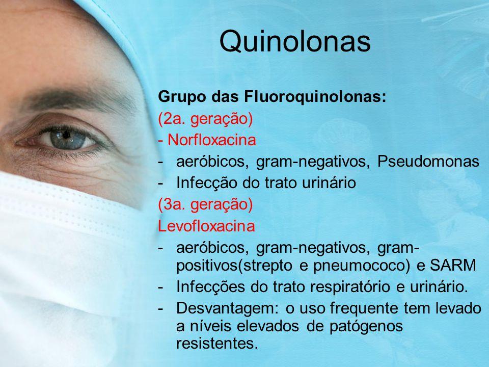 Quinolonas Grupo das Fluoroquinolonas: (2a. geração) - Norfloxacina