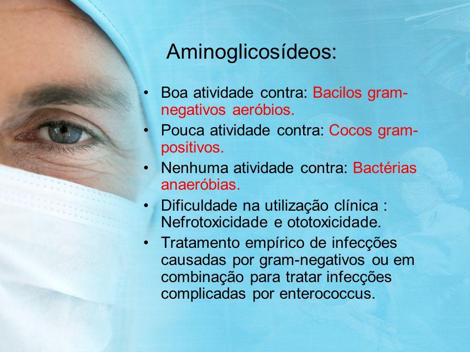 Aminoglicosídeos: Boa atividade contra: Bacilos gram-negativos aeróbios. Pouca atividade contra: Cocos gram-positivos.