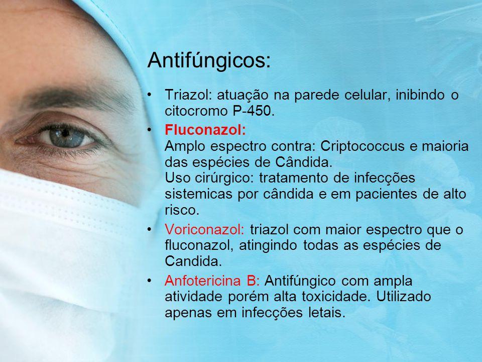 Antifúngicos: Triazol: atuação na parede celular, inibindo o citocromo P-450.