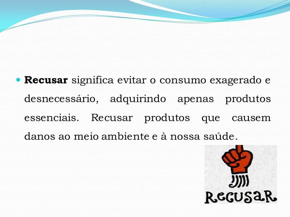 Recusar significa evitar o consumo exagerado e desnecessário, adquirindo apenas produtos essenciais.