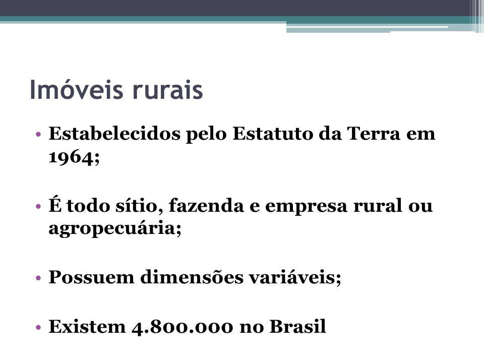 Imóveis rurais Estabelecidos pelo Estatuto da Terra em 1964;