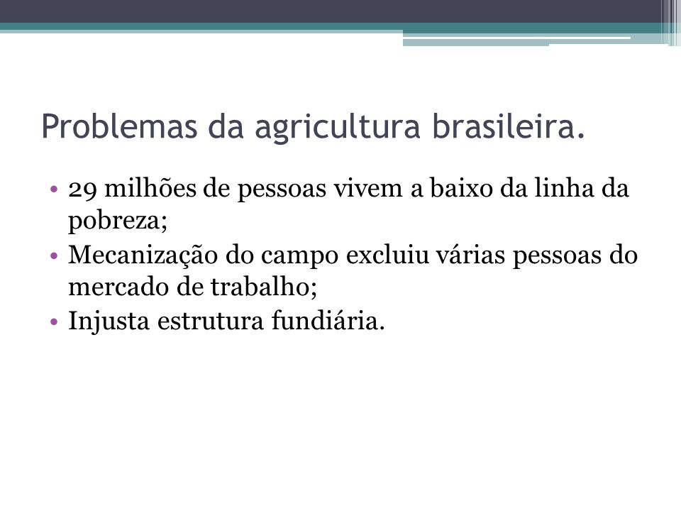 Problemas da agricultura brasileira.