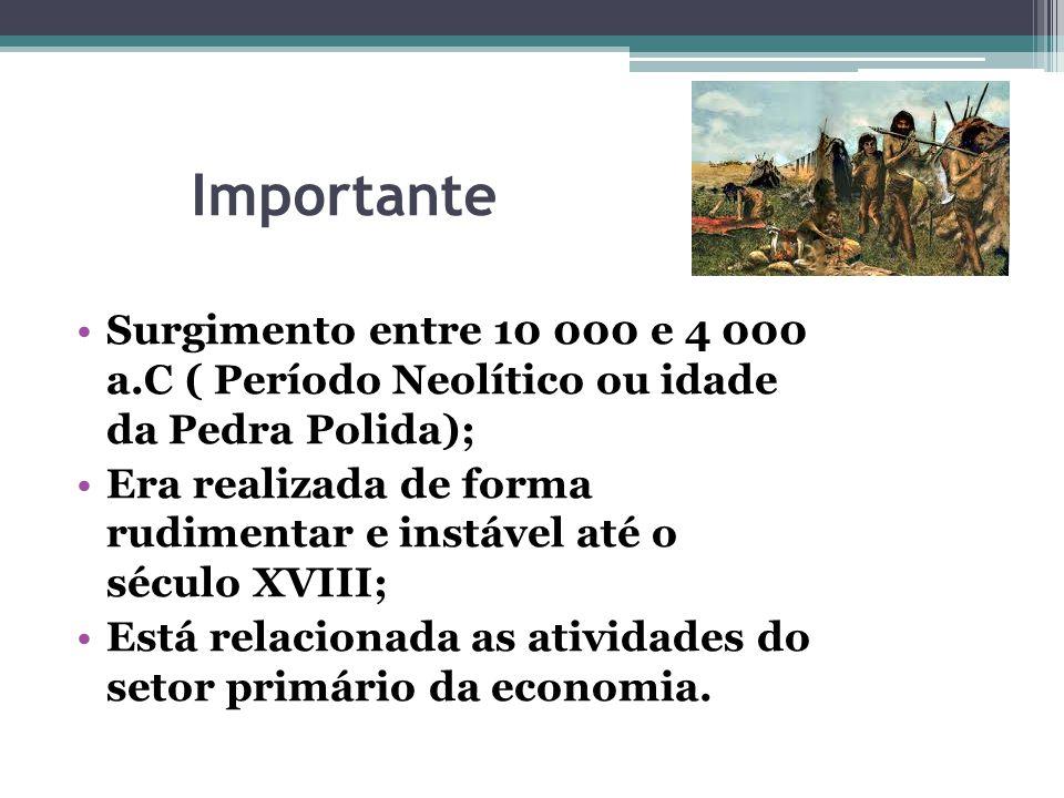 Importante Surgimento entre 10 000 e 4 000 a.C ( Período Neolítico ou idade da Pedra Polida);