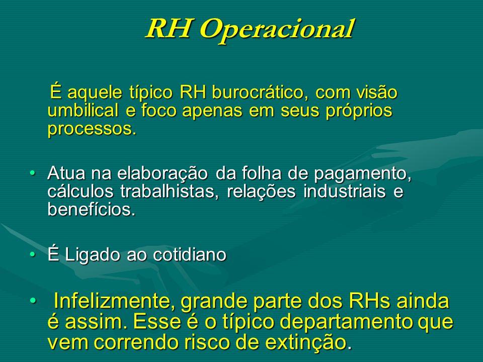 RH Operacional É aquele típico RH burocrático, com visão umbilical e foco apenas em seus próprios processos.