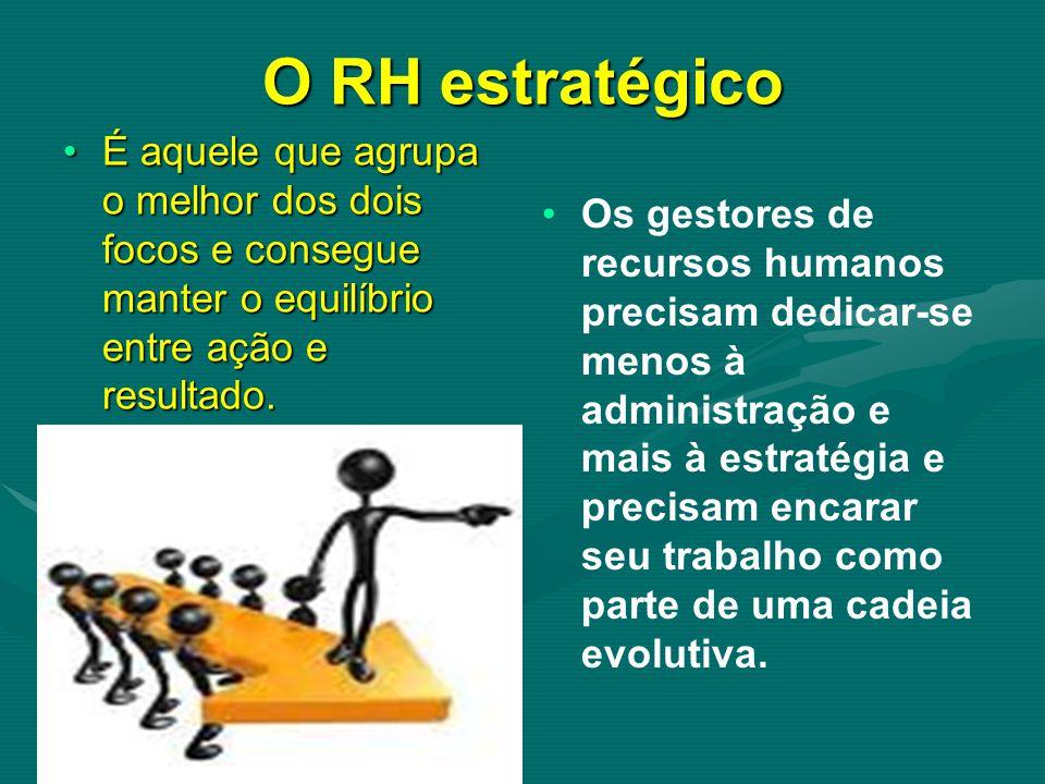 O RH estratégico É aquele que agrupa o melhor dos dois focos e consegue manter o equilíbrio entre ação e resultado.